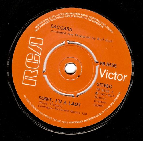 BACCARA Sorry, I'm A Lady Vinyl Record 7 Inch RCA Victor 1977.